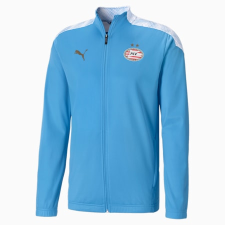 PSV Eindhoven Stadium Men's Football Jacket, Puma White-Team Light Blue, small