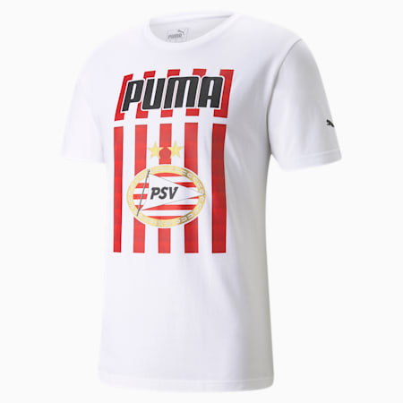 PSV Eindhoven ftblCore Graphic Herren Fußball T-Shirt, Puma White-High Risk Red, small