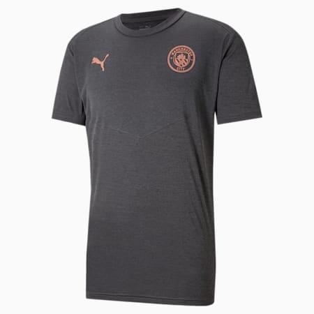 Męski T-shirt piłkarski Man City Warm-Up, Dark Gray Heather-Copper, small
