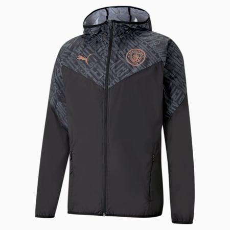 Man City Warm-Up Men's Football Jacket, Puma Black-Copper, small