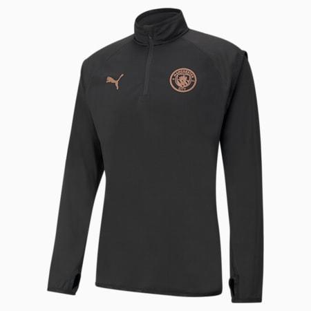 Camiseta de fútbol para calentamiento del Manchester City para hombre, Puma Black-Copper, small