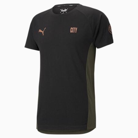 Męski T-shirt piłkarski Man City Evostripe, Puma Black-Forest Night, small