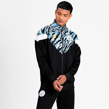 Man City Iconic MCS Men's Football Track Jacket, Puma Black-Spectra Yellow, small-IND