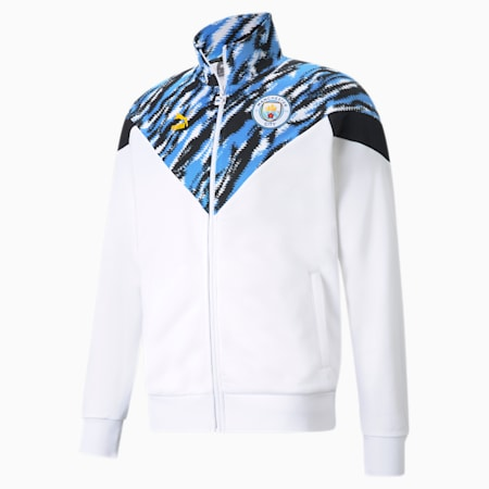 Manchester City FC Iconic MCS Men's Track Jacket, Puma White-Spectra Yellow, small
