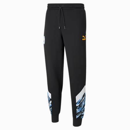 Man City Iconic MCS Men's Football Track Pants, Puma Black-Spectra Yellow, small
