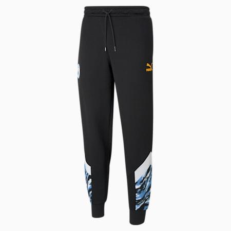 Man City Iconic MCS Men's Football Track Pants, Puma Black-Spectra Yellow, small-GBR