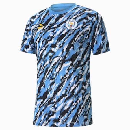 Męski T-shirt piłkarski z grafiką Man City Iconic MCS, Black-Team Light Blue-White, small