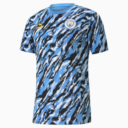Manchester City FC Iconic MCS Men's Graphic Tee, Black-Team Light Blue-White, small-GBR