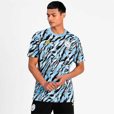 Man City Iconic MCS Graphic Men's Football  T-shirt, Black-Team Light Blue-White, small-IND