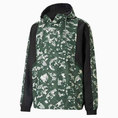 Man City TFS Woven Half-Zip Men's Football Jacket, Silver-Camo Green, small-GBR