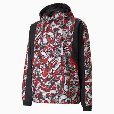 ACM TFS Woven Half-Zip Men's Football Jacket, Tango Red -Puma Black, small-GBR