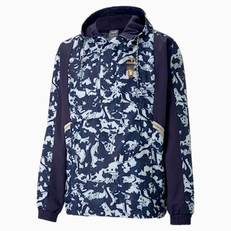 FIGC TFS Half-Zip Woven Men's Football Jacket, Peacoat-Team Power Blue, small