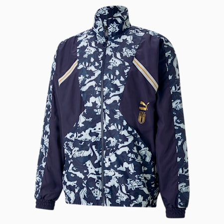 FIGC TFS Woven Men's Football Jacket, Peacoat-Team Power Blue, small