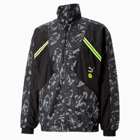Chaqueta de fútbol de tejido plano TFS del BVB para hombre, Puma Black-Safety Yellow, small