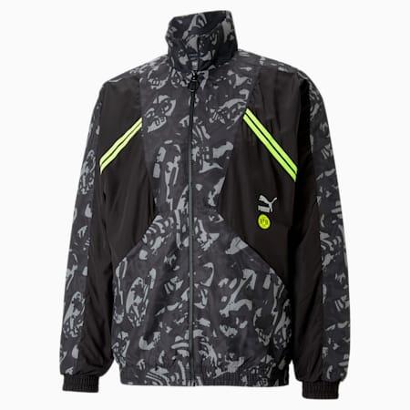 Męska kurtka piłkarska z tkaniny BVB TFS, Puma Black-Safety Yellow, small