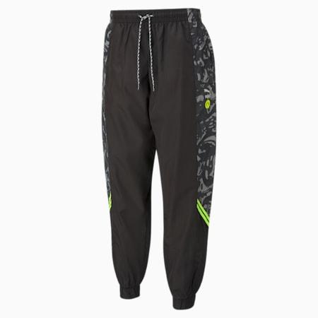 Męskie spodnie piłkarskie z tkaniny BVB TFS, Puma Black-Safety Yellow, small
