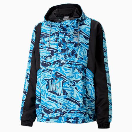 OM TFS Half-Zip Woven Men's Football Jacket, Puma Black-Blue Camo, small