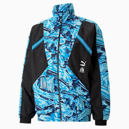 OM TFS Woven Men's Football Jacket, Puma Black-Blue Camo, small