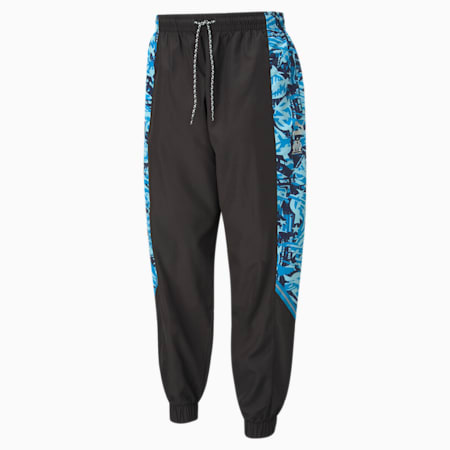 OM TFS Woven Men's Football Pants, Puma Black-Blue Camo, small