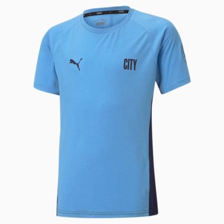 Man City Evostripe Youth Football Tee, Team Light Blue-Peacoat, small-GBR