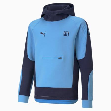 Man City Evostripe Youth Football Hoodie, Team Light Blue-Peacoat, small