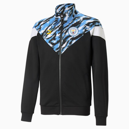 Man City Iconic Graphic Youth Football Jacket, Puma Black-Spectra Yellow, small-GBR