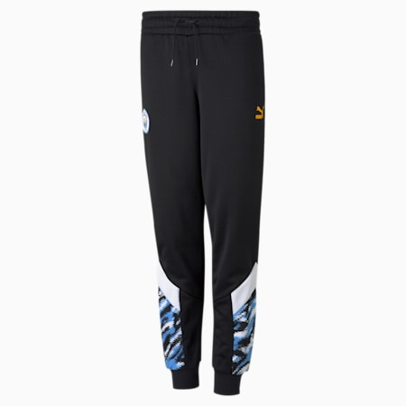 Man City Iconic Graphic Youth Football Pants, Puma Black-Spectra Yellow, small