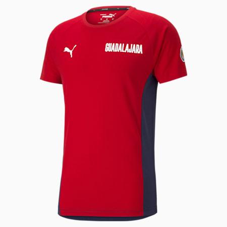 T-shirt da calcio Chivas Evostripe uomo, Peacoat-Tango Red, small
