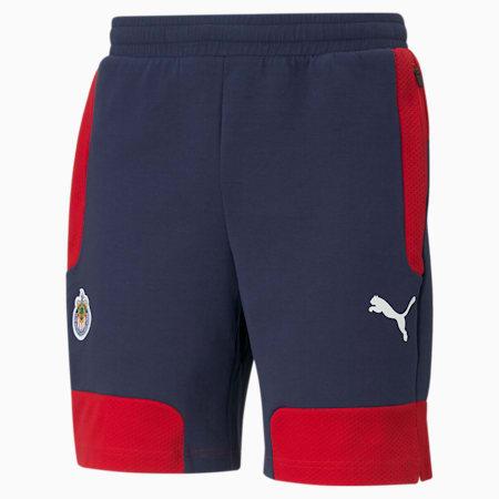 Chivas Evostripe Men's Football Shorts, Peacoat-Tango Red, small