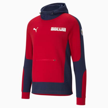 Męska piłkarska bluza z kapturem Chivas Evostripe, Peacoat-Tango Red, small