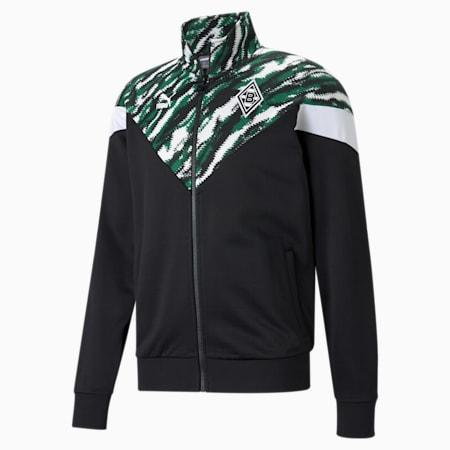 BMG Iconic MCS Men's Football Track Jacket, Black-White-Amazon Green, small