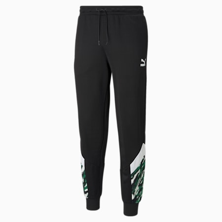 BMG Iconic MCS Men's Football Track Pants, Black-White-Amazon Green, small
