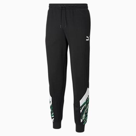 BMG Iconic MCS Men's Football Track Pants, Black-White-Amazon Green, small