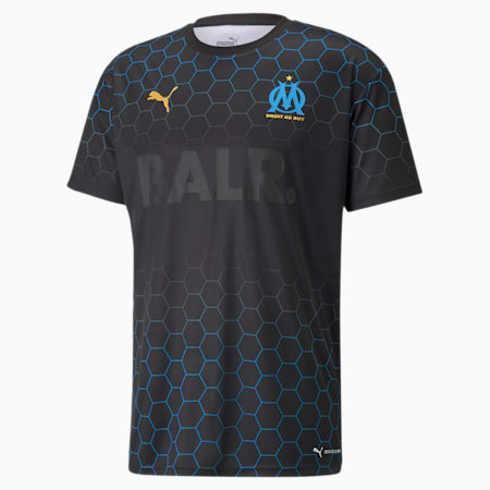 OM x BALR Signature Men's Football Jersey, Puma Black-Bleu Azur, small