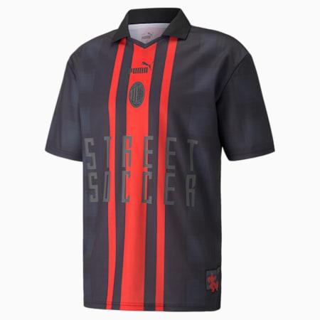 Camiseta de hombre de fútbol ACM Street, Puma Black-Puma Red, pequeño