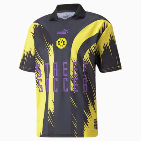 Camiseta de fútbol de hombre BVB Street Soccer, Ebony-Puma Black-Cyber Yellow, pequeño