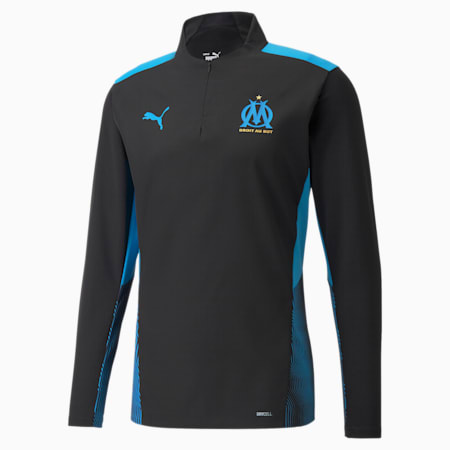 OM Pro Training Quarter-Zip Men's Football Top, Puma Black-Bleu Azur, small-GBR