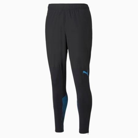 OM Men's Football Training Pants with Pockets, Puma Black-Bleu Azur, small-GBR