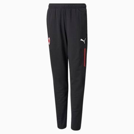 ACM Training Youth Football Pants, Puma Black-Tango Red, small-GBR