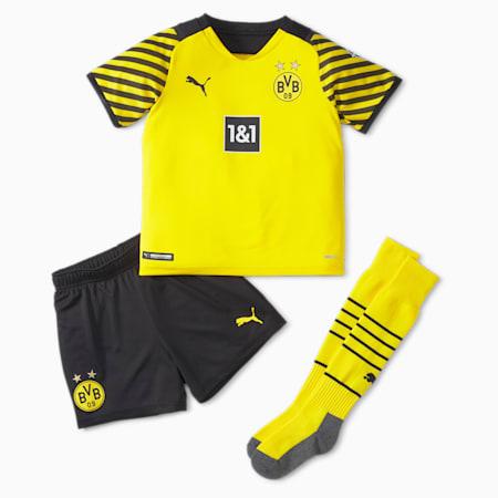 1.ª equipación de fútbol juvenil mini del BVB con patrocinadores, Cyber Yellow-Puma Black, small