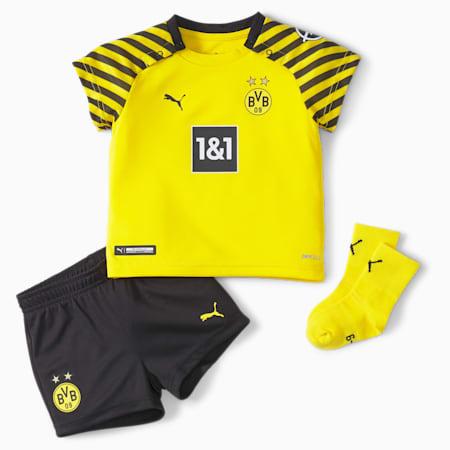 1.ª equipación de fútbol mini para bebés del BVB con patrocinadores, Cyber Yellow-Puma Black, small