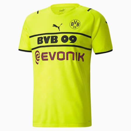 BVB Cup Men's Replica T-Shirt, Safety Yellow-Puma Black, small-IND