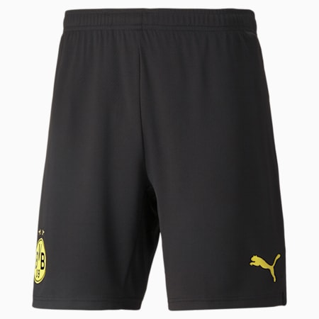 Shorts de fútbol réplica del BVB para hombre, Puma Black-Cyber Yellow, small