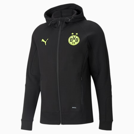 BVB Casuals Men's Slim Hooded Jacket, Puma Black-Safety Yellow, small-IND