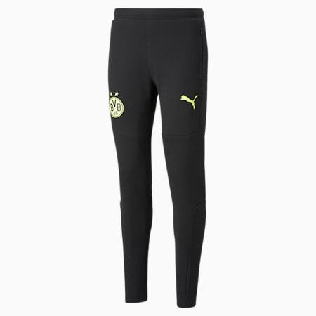 Pantalones de deporte de fútbol para hombre BVB Casuals, Puma Black-Safety Yellow, small