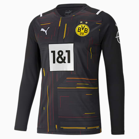 BVB Replica Long Sleeve Men's Goalkeeper Jersey, Puma Black-Puma White, small