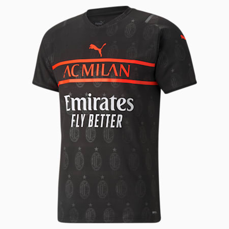 AC Milan 3rd Men's Replica T-Shirt, Puma Black-Red Blast, small-IND