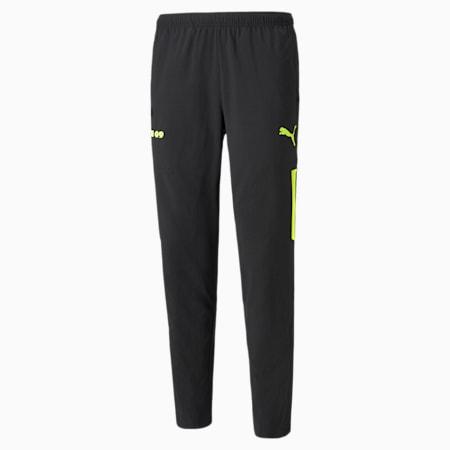 BVB Woven Men's Football Pants, Puma Black-Safety Yellow, small