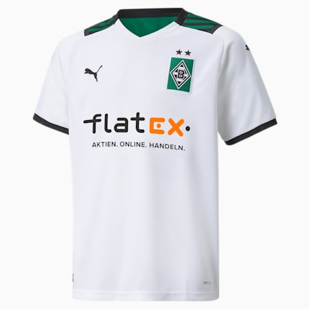 BMG Home Replica Youth Football Jersey, Puma White-Power Green, small