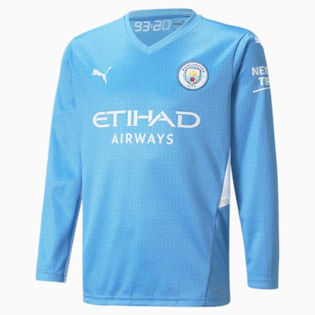 Man City Home Replica Long Sleeve Youth Jersey, Team Light Blue-Puma White, small-GBR